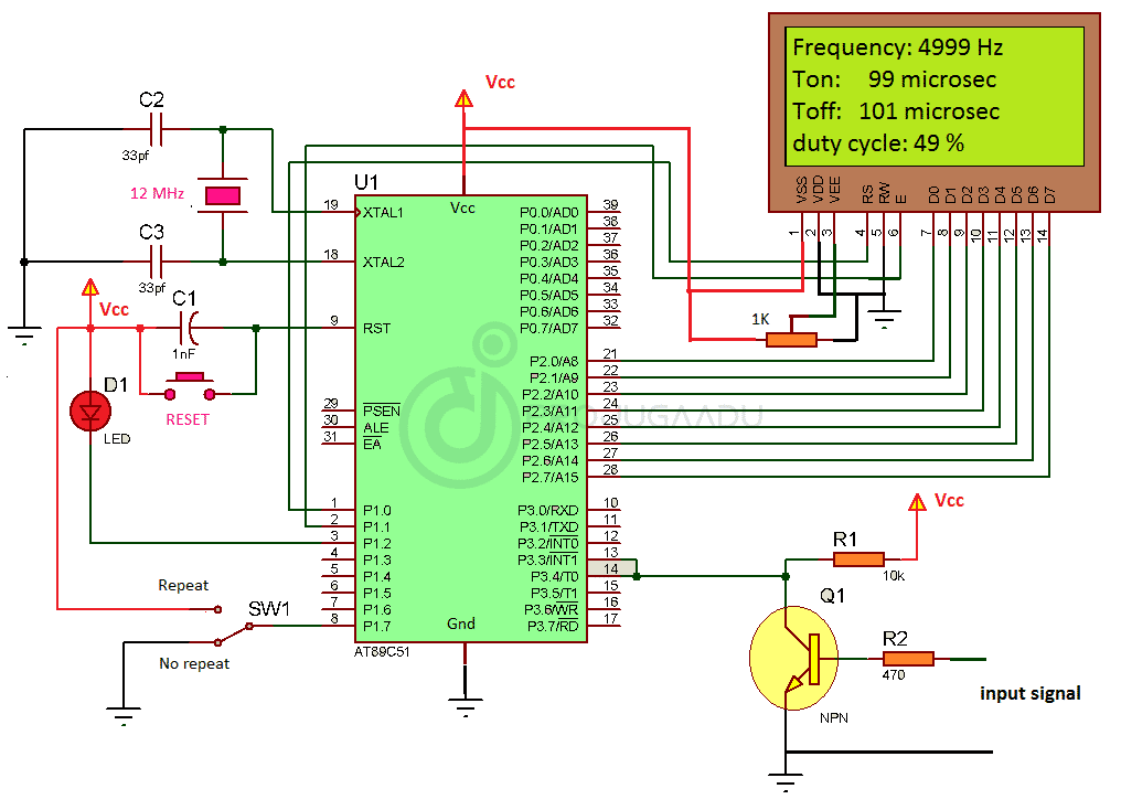 Frequency Measurement and Pulse Width Measurement using Microcontroller (AT89C51)